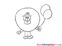 Lion Balloon free printable Coloring Sheets