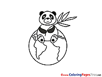 Panda Globe  Coloring Pages for free