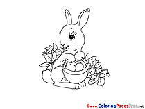 Rabbit Flowers printable Colouring Page for Kids