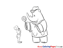 Rhino Hare for free Coloring Pages download