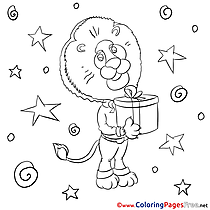 Stars Lion Coloring Pages free for Children