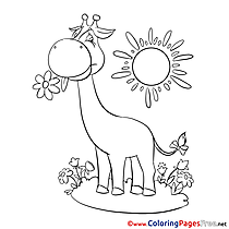 Sun Giraffe free Colouring Page download
