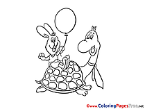 Turtle Hare printable Colouring Page for Kids
