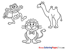 Zoo Animals download Colouring Page for Children